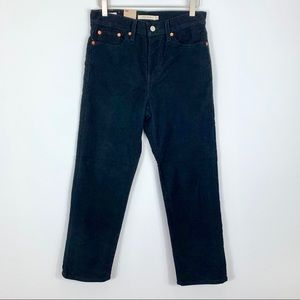 Levi's Wedgie High Rise Straight Blk Corduroy NWT